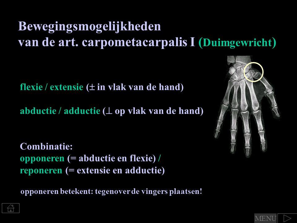 Bewegingsmogelijkheden van de art. carpometacarpalis I ( Duimgewricht ) flexie / extensie (  in vlak van de hand) abductie / adductie (  op vlak van