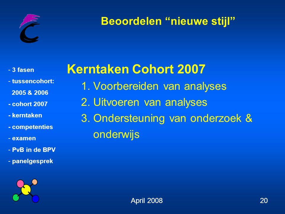 """Beoordelen """"nieuwe stijl"""" - 3 fasen - tussencohort: 2005 & 2006 - cohort 2007 - kerntaken - competenties - examen - PvB in de BPV - panelgesprek April"""