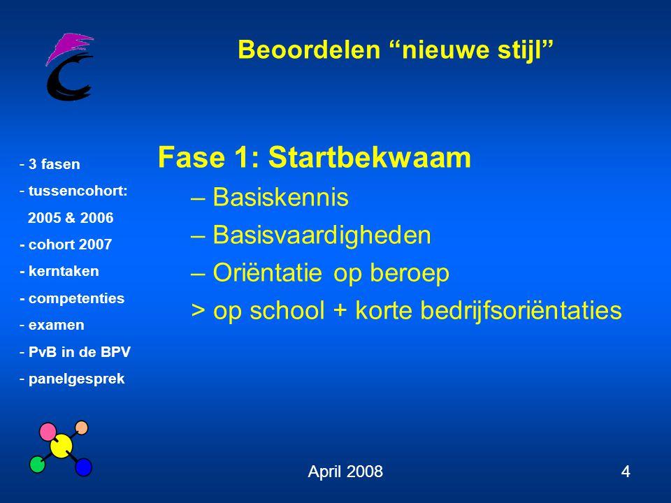 Beoordelen nieuwe stijl - 3 fasen - tussencohort: 2005 & 2006 - cohort 2007 - kerntaken - competenties - examen - PvB in de BPV - panelgesprek April 200815 Kerntaken tussencohort niveau IV 1.