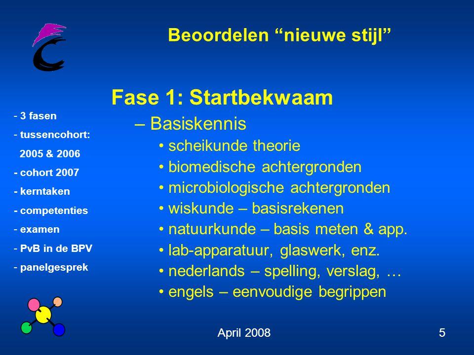 Beoordelen nieuwe stijl - 3 fasen - tussencohort: 2005 & 2006 - cohort 2007 - kerntaken - competenties - examen - PvB in de BPV - panelgesprek April 20086 Fase 1: Startbekwaam – Basisvaardigheden 1 werken met Word, Excel, PPT, fig.