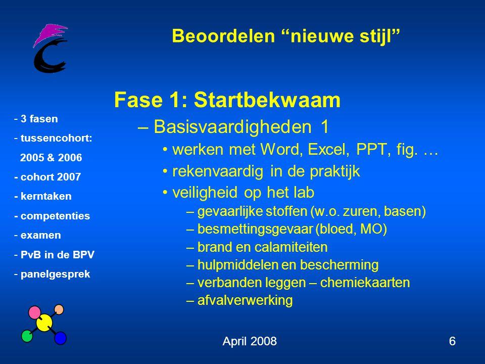 Beoordelen nieuwe stijl - 3 fasen - tussencohort: 2005 & 2006 - cohort 2007 - kerntaken - competenties - examen - PvB in de BPV - panelgesprek April 200817 Kerntaken tussencohort niveau IV extra voor biomedisch: klinische chemie en hematologie 6.