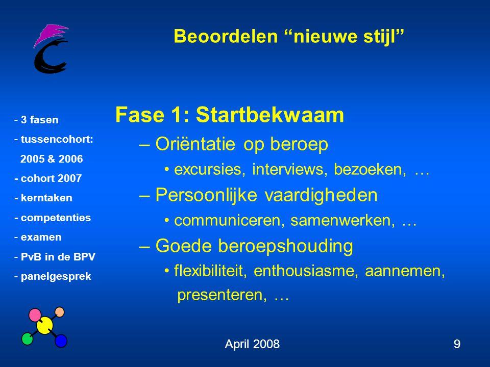 Beoordelen nieuwe stijl - 3 fasen - tussencohort: 2005 & 2006 - cohort 2007 - kerntaken - competenties - examen - PvB in de BPV - panelgesprek April 200820 Kerntaken Cohort 2007 1.
