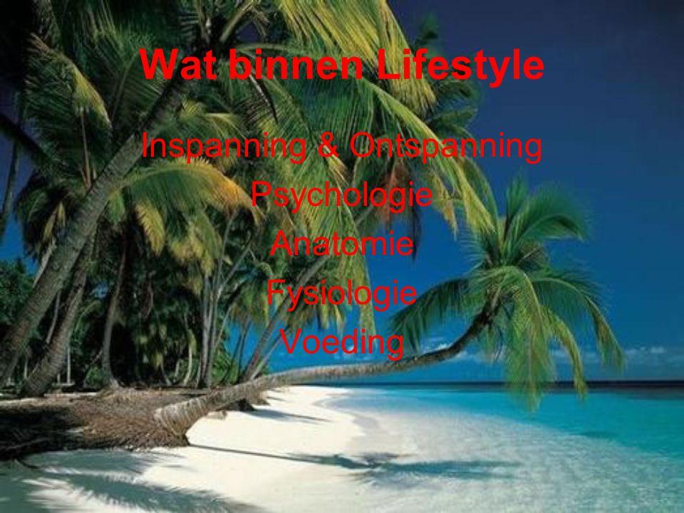 Wat binnen Lifestyle Inspanning & Ontspanning Psychologie Anatomie Fysiologie Voeding