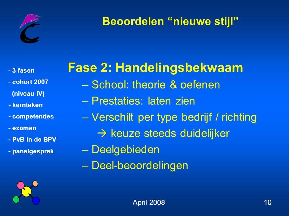 """Beoordelen """"nieuwe stijl"""" - 3 fasen - cohort 2007 (niveau IV) - kerntaken - competenties - examen - PvB in de BPV - panelgesprek April 200810 Fase 2:"""