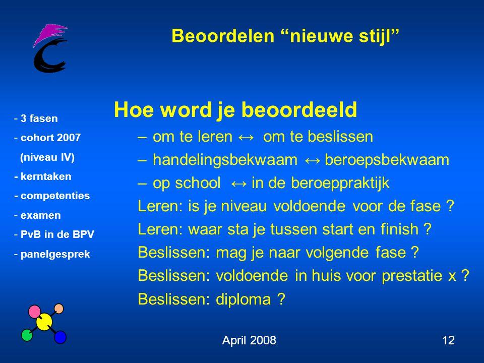 """Beoordelen """"nieuwe stijl"""" - 3 fasen - cohort 2007 (niveau IV) - kerntaken - competenties - examen - PvB in de BPV - panelgesprek April 200812 Hoe word"""