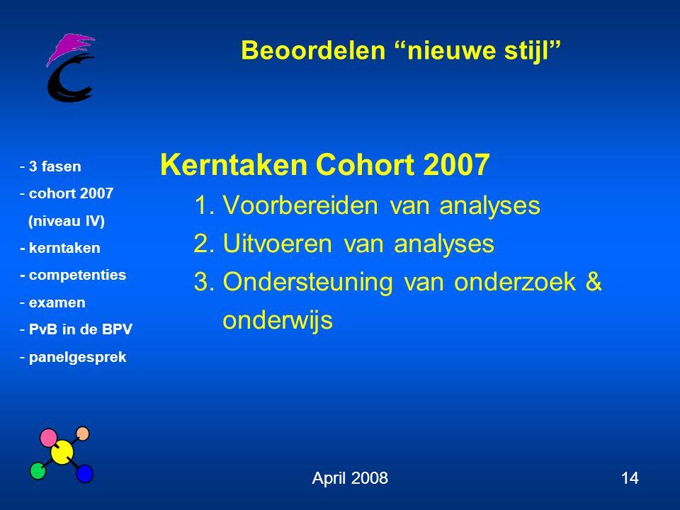 """Beoordelen """"nieuwe stijl"""" - 3 fasen - cohort 2007 (niveau IV) - kerntaken - competenties - examen - PvB in de BPV - panelgesprek April 200814 Kerntake"""