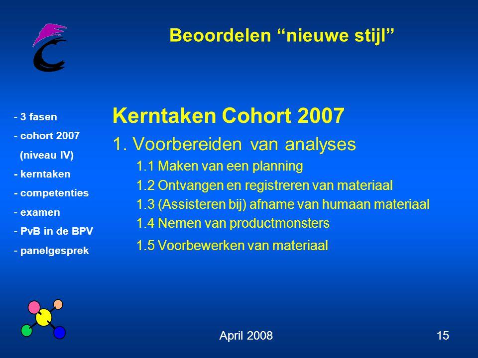 """Beoordelen """"nieuwe stijl"""" - 3 fasen - cohort 2007 (niveau IV) - kerntaken - competenties - examen - PvB in de BPV - panelgesprek April 200815 Kerntake"""