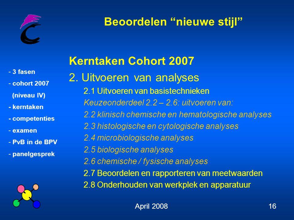 """Beoordelen """"nieuwe stijl"""" - 3 fasen - cohort 2007 (niveau IV) - kerntaken - competenties - examen - PvB in de BPV - panelgesprek April 200816 Kerntake"""