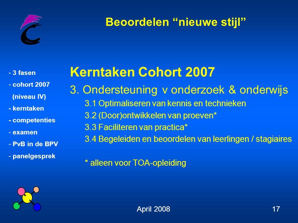 """Beoordelen """"nieuwe stijl"""" - 3 fasen - cohort 2007 (niveau IV) - kerntaken - competenties - examen - PvB in de BPV - panelgesprek April 200817 Kerntake"""