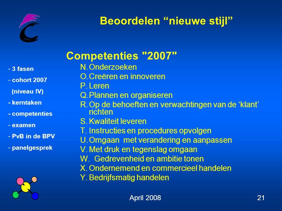 """Beoordelen """"nieuwe stijl"""" - 3 fasen - cohort 2007 (niveau IV) - kerntaken - competenties - examen - PvB in de BPV - panelgesprek April 200821 Competen"""