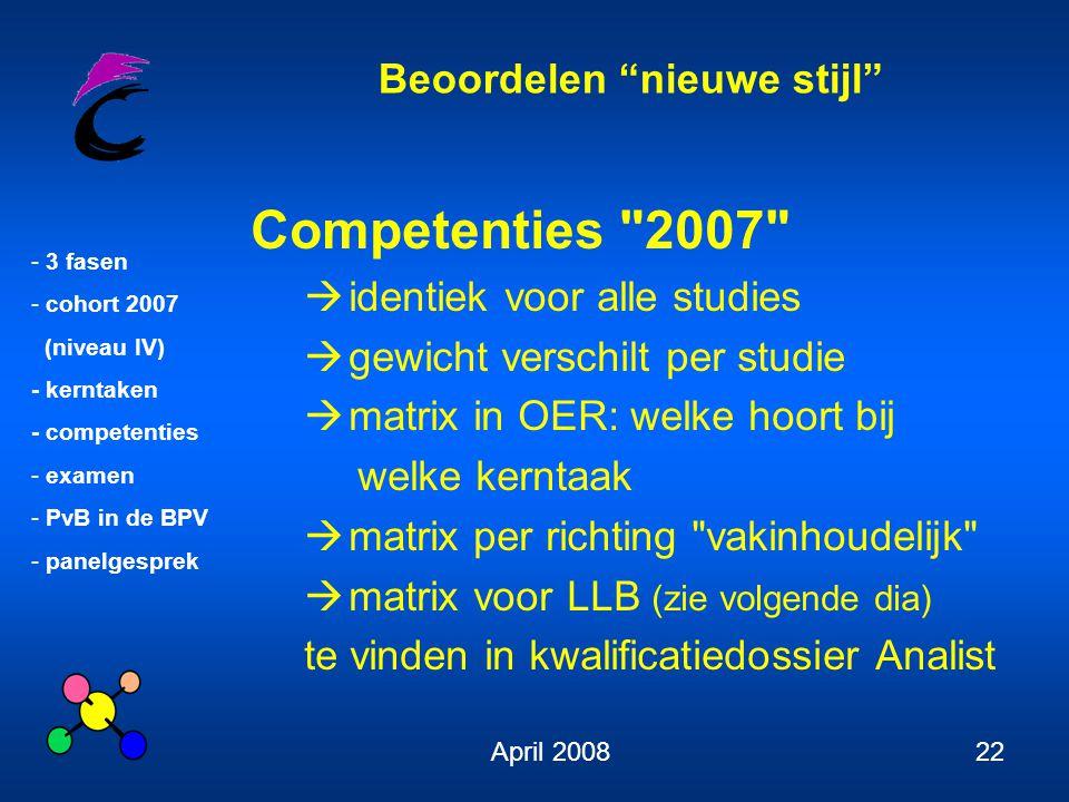 """Beoordelen """"nieuwe stijl"""" - 3 fasen - cohort 2007 (niveau IV) - kerntaken - competenties - examen - PvB in de BPV - panelgesprek April 200822 Competen"""