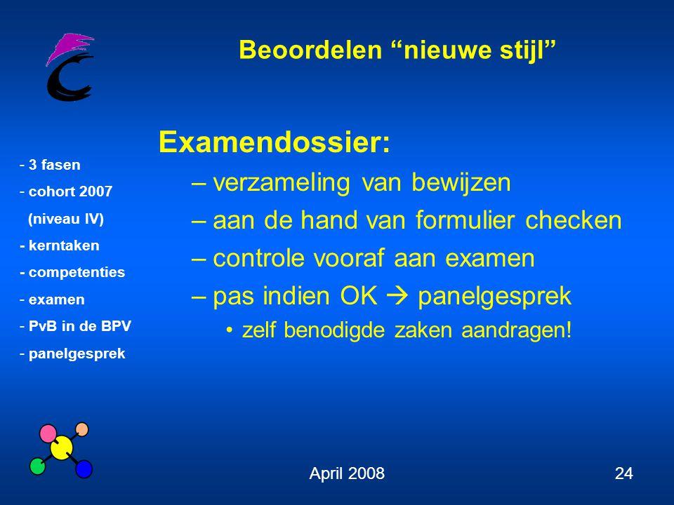 """Beoordelen """"nieuwe stijl"""" - 3 fasen - cohort 2007 (niveau IV) - kerntaken - competenties - examen - PvB in de BPV - panelgesprek April 200824 Examendo"""