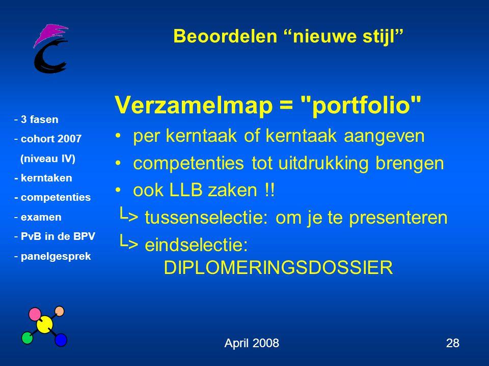"""Beoordelen """"nieuwe stijl"""" - 3 fasen - cohort 2007 (niveau IV) - kerntaken - competenties - examen - PvB in de BPV - panelgesprek April 200828 Verzamel"""