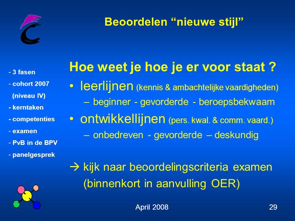 """Beoordelen """"nieuwe stijl"""" - 3 fasen - cohort 2007 (niveau IV) - kerntaken - competenties - examen - PvB in de BPV - panelgesprek April 200829 Hoe weet"""