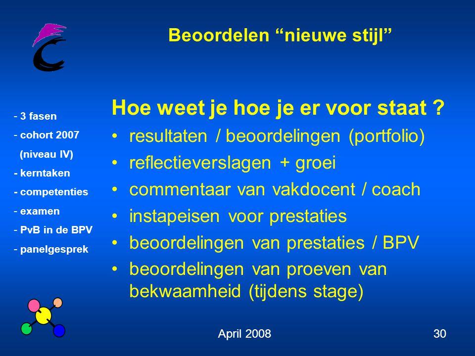 """Beoordelen """"nieuwe stijl"""" - 3 fasen - cohort 2007 (niveau IV) - kerntaken - competenties - examen - PvB in de BPV - panelgesprek April 200830 Hoe weet"""