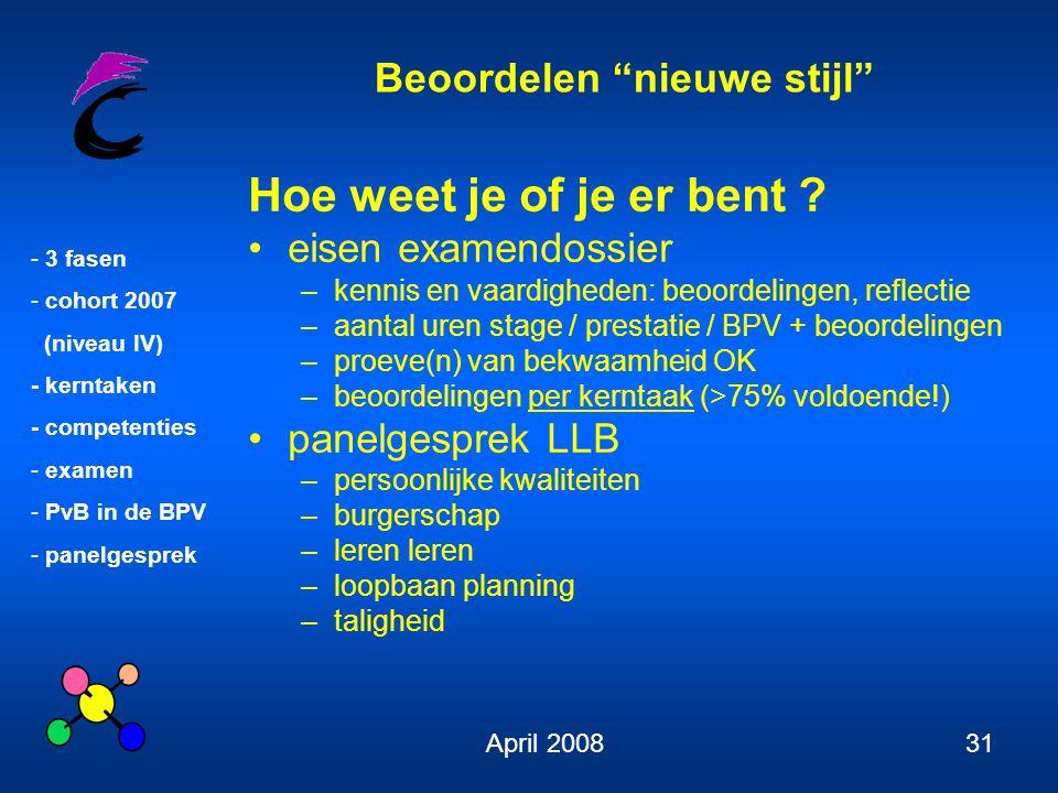 """Beoordelen """"nieuwe stijl"""" - 3 fasen - cohort 2007 (niveau IV) - kerntaken - competenties - examen - PvB in de BPV - panelgesprek April 200831 Hoe weet"""
