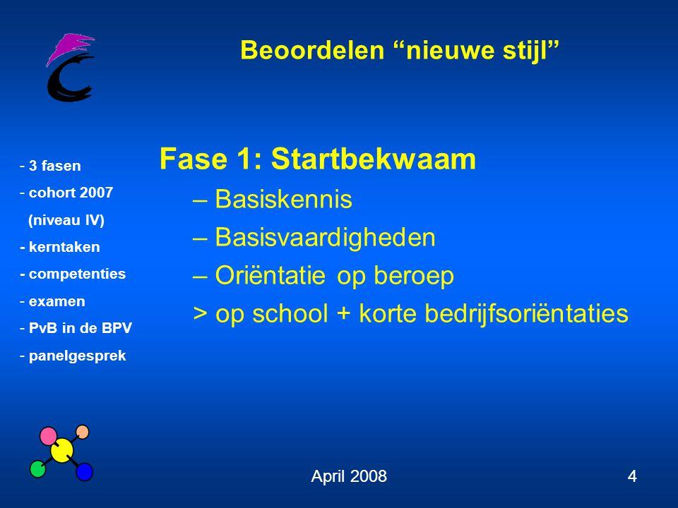 """Beoordelen """"nieuwe stijl"""" - 3 fasen - cohort 2007 (niveau IV) - kerntaken - competenties - examen - PvB in de BPV - panelgesprek April 20084 Fase 1: S"""