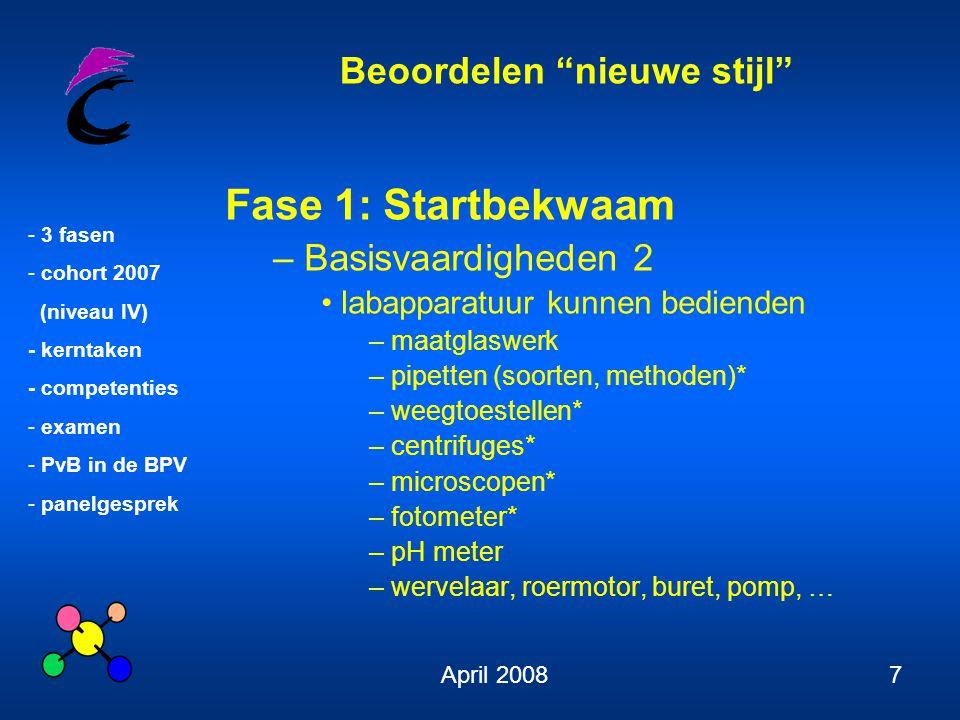 """Beoordelen """"nieuwe stijl"""" - 3 fasen - cohort 2007 (niveau IV) - kerntaken - competenties - examen - PvB in de BPV - panelgesprek April 20087 Fase 1: S"""