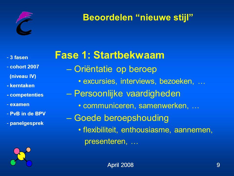 """Beoordelen """"nieuwe stijl"""" - 3 fasen - cohort 2007 (niveau IV) - kerntaken - competenties - examen - PvB in de BPV - panelgesprek April 20089 Fase 1: S"""
