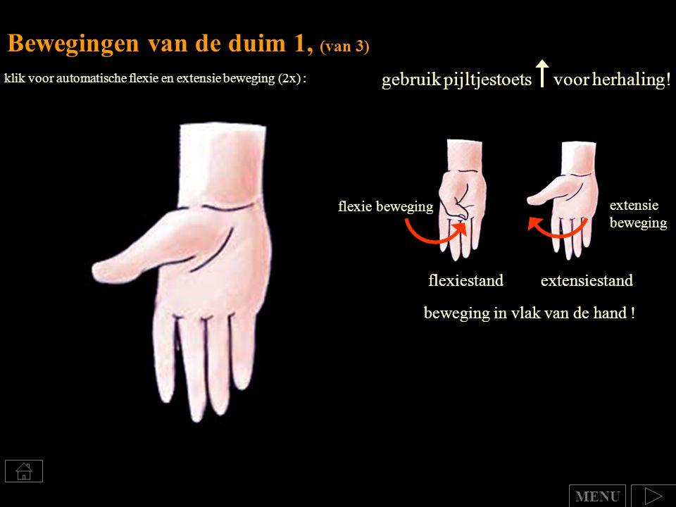 gebruik pijltjestoets voor herhaling! Bewegingen van de duim 1, (van 3) flexiestandextensiestand beweging in vlak van de hand ! extensie beweging flex