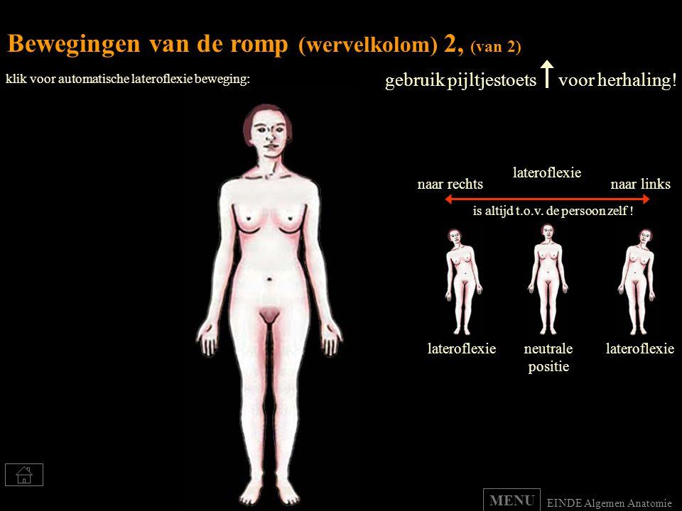 Bewegingen van de romp (wervelkolom) 2, (van 2) gebruik pijltjestoets voor herhaling! lateroflexie naar rechtsnaar links is altijd t.o.v. de persoon z