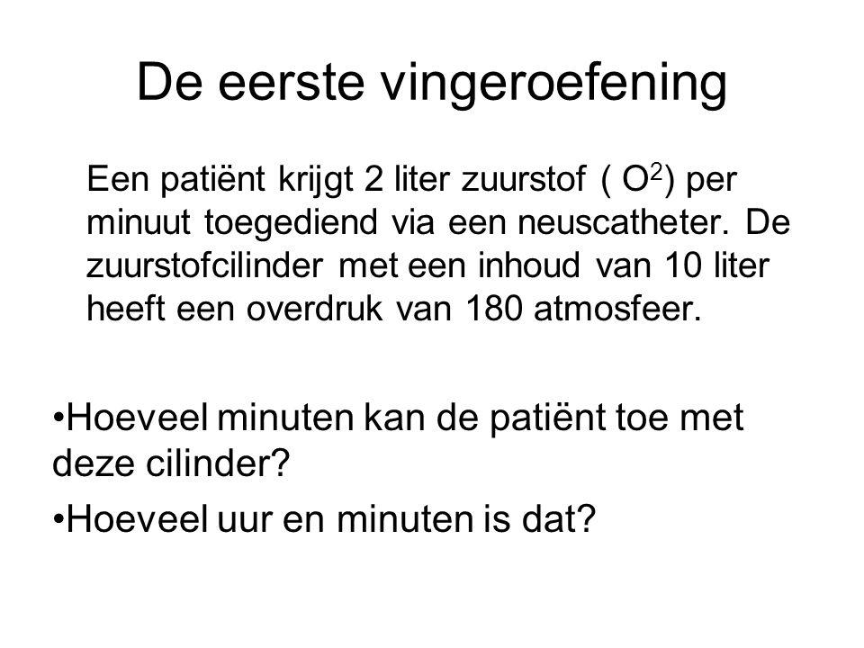 De eerste vingeroefening Een patiënt krijgt 2 liter zuurstof ( O 2 ) per minuut toegediend via een neuscatheter. De zuurstofcilinder met een inhoud va