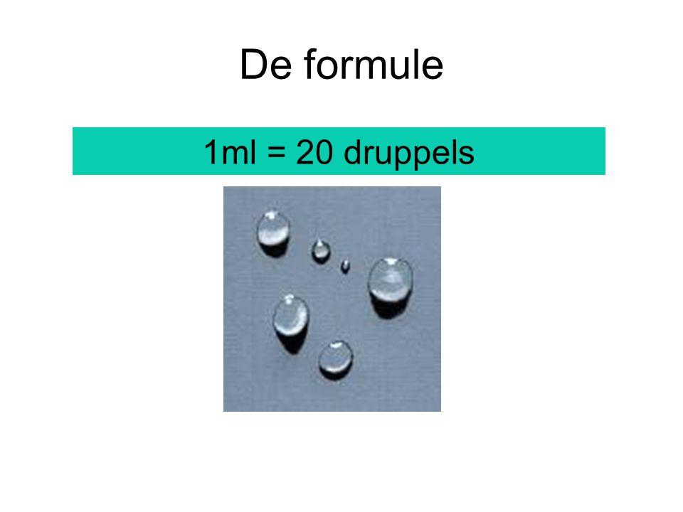 druppelsnelheid Een infuus van 500 ml NaCl 0,65% moet in 5 uur tijd inlopen.