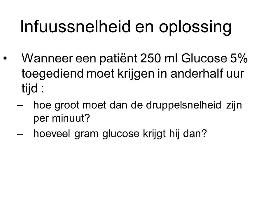 Infuussnelheid en oplossing Wanneer een patiënt 250 ml Glucose 5% toegediend moet krijgen in anderhalf uur tijd : –hoe groot moet dan de druppelsnelhe
