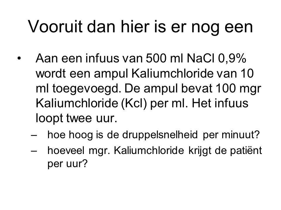 Vooruit dan hier is er nog een Aan een infuus van 500 ml NaCl 0,9% wordt een ampul Kaliumchloride van 10 ml toegevoegd. De ampul bevat 100 mgr Kaliumc