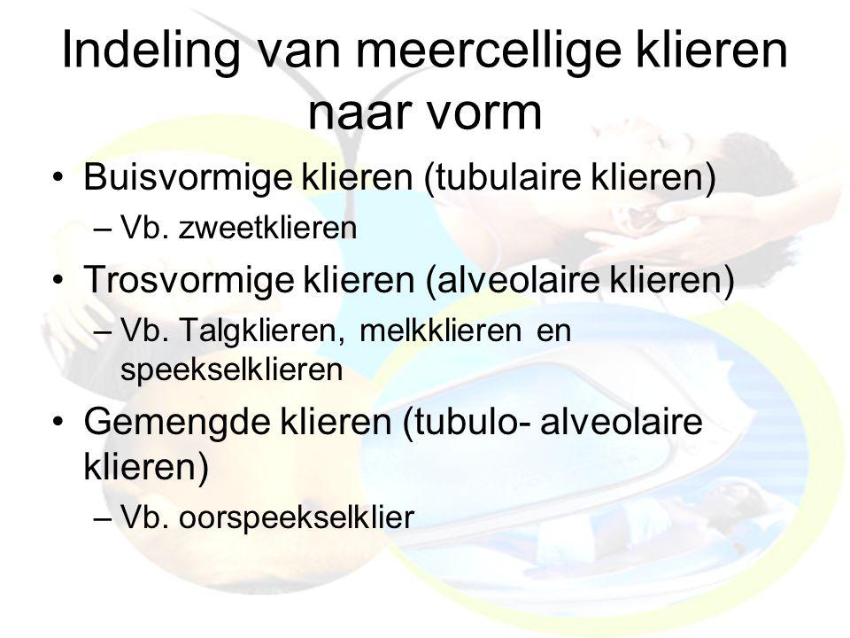 Indeling van meercellige klieren naar vorm Buisvormige klieren (tubulaire klieren) –Vb. zweetklieren Trosvormige klieren (alveolaire klieren) –Vb. Tal