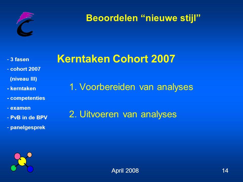 Beoordelen nieuwe stijl - 3 fasen - cohort 2007 (niveau III) - kerntaken - competenties - examen - PvB in de BPV - panelgesprek April 200814 Kerntaken Cohort 2007 1.