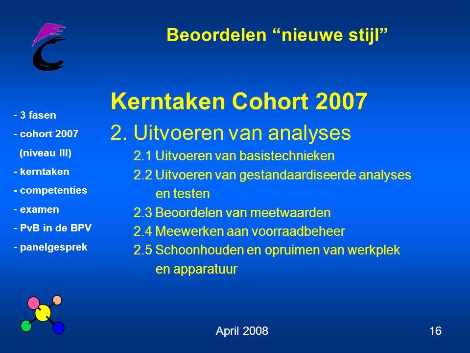 Beoordelen nieuwe stijl - 3 fasen - cohort 2007 (niveau III) - kerntaken - competenties - examen - PvB in de BPV - panelgesprek April 200816 Kerntaken Cohort 2007 2.