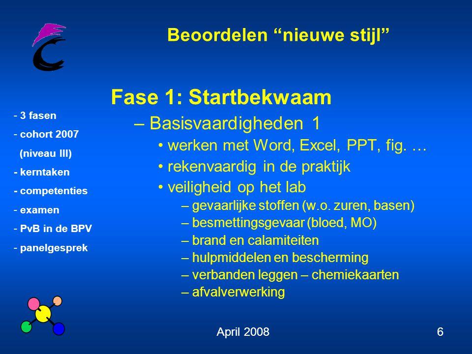 Beoordelen nieuwe stijl - 3 fasen - cohort 2007 (niveau III) - kerntaken - competenties - examen - PvB in de BPV - panelgesprek April 20086 Fase 1: Startbekwaam – Basisvaardigheden 1 werken met Word, Excel, PPT, fig.