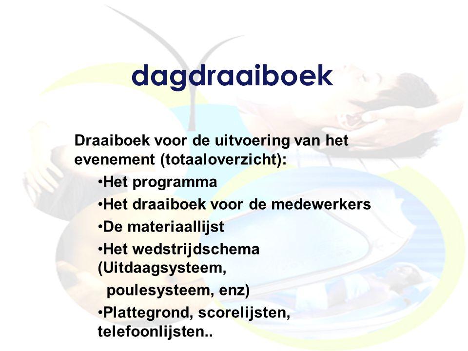 dagdraaiboek Draaiboek voor de uitvoering van het evenement (totaaloverzicht): Het programma Het draaiboek voor de medewerkers De materiaallijst Het w