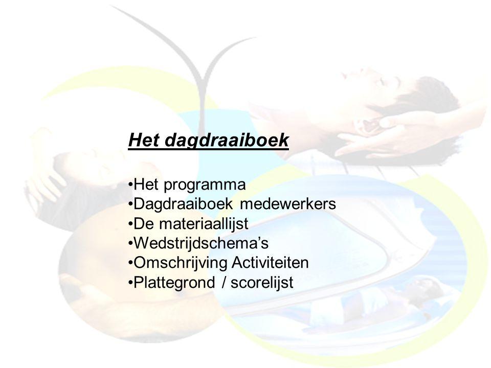 Het dagdraaiboek Het programma Dagdraaiboek medewerkers De materiaallijst Wedstrijdschema's Omschrijving Activiteiten Plattegrond / scorelijst