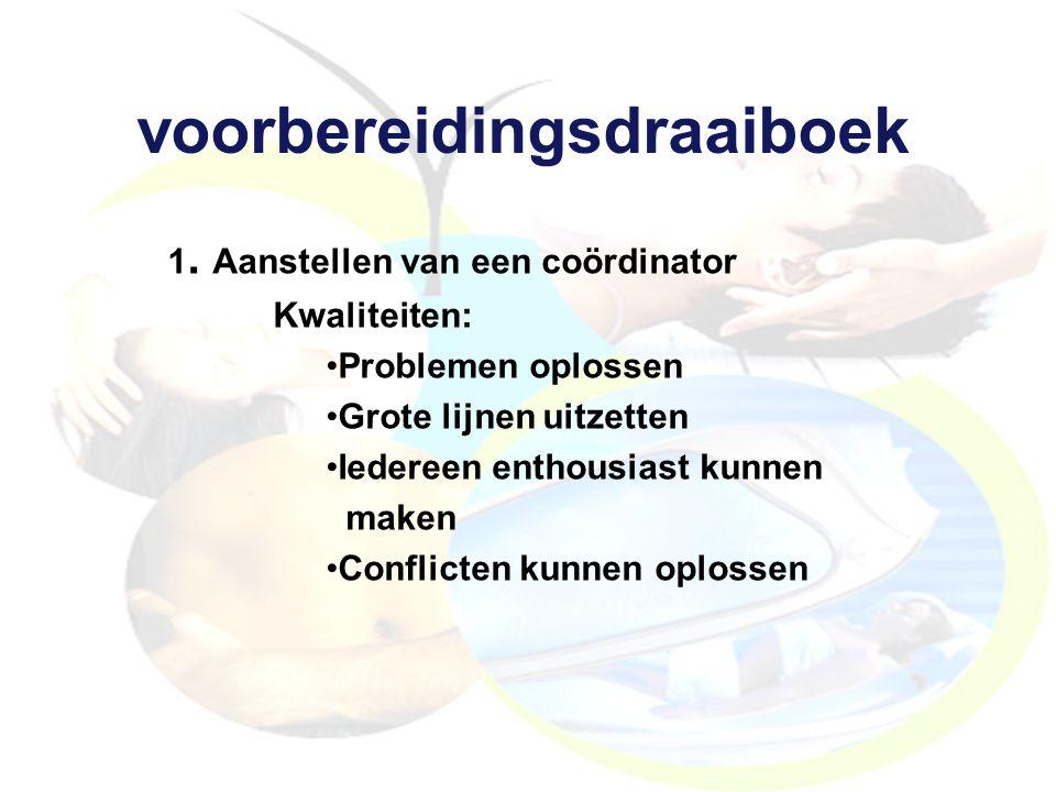 voorbereidingsdraaiboek 1. Aanstellen van een coördinator Kwaliteiten: Problemen oplossen Grote lijnen uitzetten Iedereen enthousiast kunnen maken Con