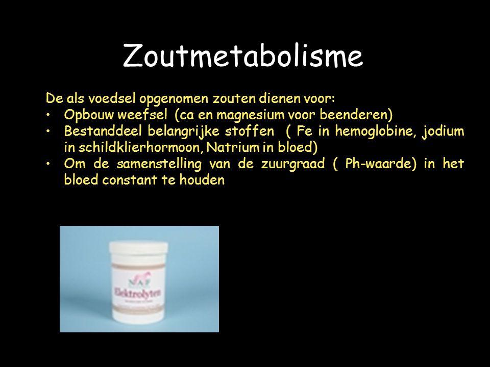 Zoutmetabolisme De als voedsel opgenomen zouten dienen voor: Opbouw weefsel (ca en magnesium voor beenderen) Bestanddeel belangrijke stoffen ( Fe in hemoglobine, jodium in schildklierhormoon, Natrium in bloed) Om de samenstelling van de zuurgraad ( Ph-waarde) in het bloed constant te houden