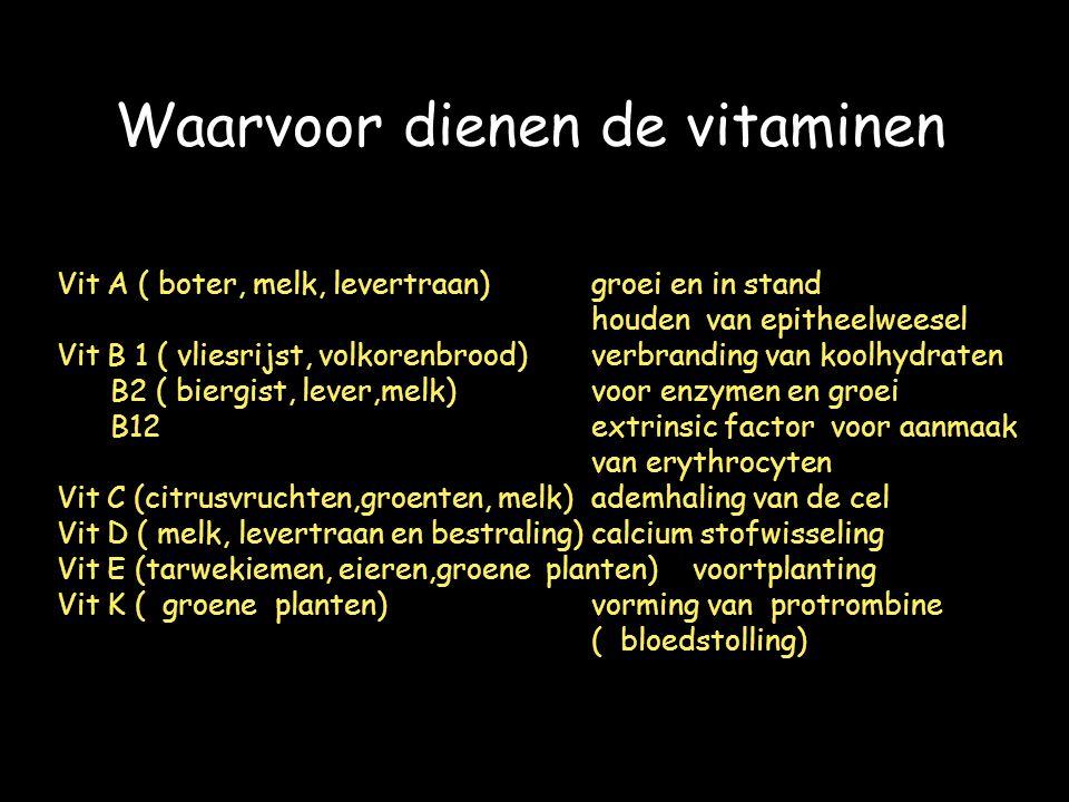 Waarvoor dienen de vitaminen Vit A ( boter, melk, levertraan)groei en in stand houden van epitheelweesel Vit B 1 ( vliesrijst, volkorenbrood)verbranding van koolhydraten B2 ( biergist, lever,melk)voor enzymen en groei B12 extrinsic factor voor aanmaak van erythrocyten Vit C (citrusvruchten,groenten, melk)ademhaling van de cel Vit D ( melk, levertraan en bestraling)calcium stofwisseling Vit E (tarwekiemen, eieren,groene planten) voortplanting Vit K ( groene planten)vorming van protrombine ( bloedstolling)