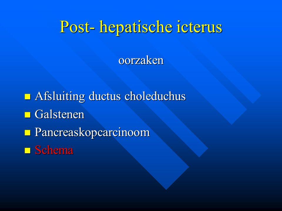 Post- hepatische icterus oorzaken Afsluiting ductus choleduchus Afsluiting ductus choleduchus Galstenen Galstenen Pancreaskopcarcinoom Pancreaskopcarc