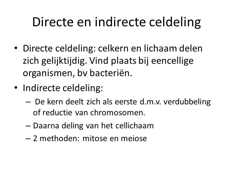 Directe en indirecte celdeling Directe celdeling: celkern en lichaam delen zich gelijktijdig.