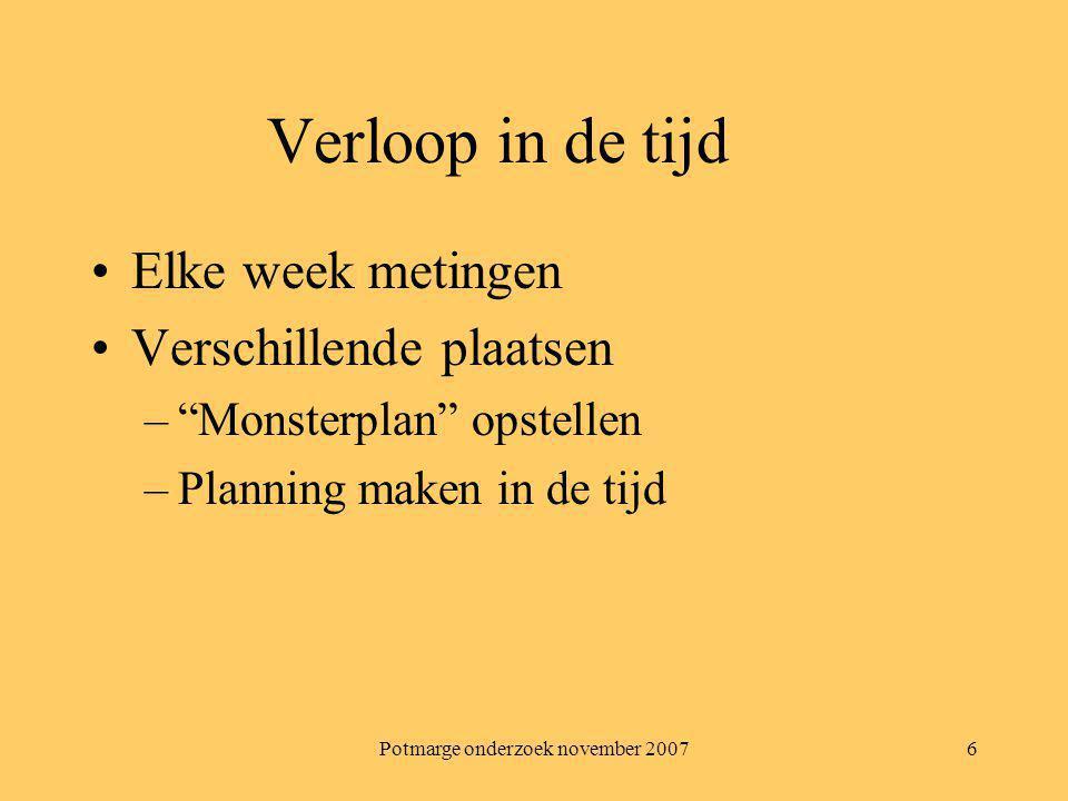 Potmarge onderzoek november 20077 Planning Week 1: –Monsternemingsplan opstellen Ook de analyses plannen.