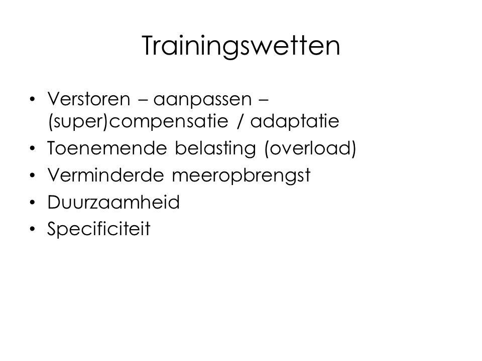 Trainingswetten Verstoren – aanpassen – (super)compensatie / adaptatie Toenemende belasting (overload) Verminderde meeropbrengst Duurzaamheid Specific