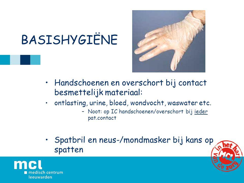 BASISHYGIËNE Handschoenen en overschort bij contact besmettelijk materiaal: ontlasting, urine, bloed, wondvocht, waswater etc. –Noot: op IC handschoen