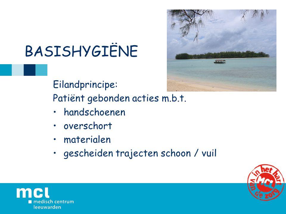 BASISHYGIËNE Eilandprincipe: Patiënt gebonden acties m.b.t. handschoenen overschort materialen gescheiden trajecten schoon / vuil
