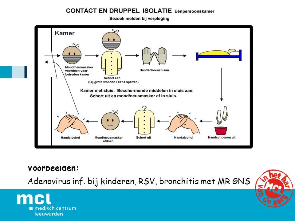 Voorbeelden: Adenovirus inf. bij kinderen, RSV, bronchitis met MR GNS