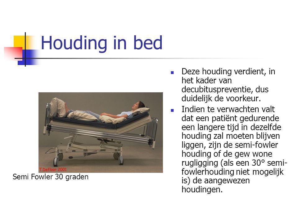 Houding in bed Deze houding verdient, in het kader van decubituspreventie, dus duidelijk de voorkeur. Indien te verwachten valt dat een patiënt gedure