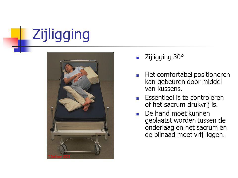 Zijligging Zijligging 30° Het comfortabel positioneren kan gebeuren door middel van kussens. Essentieel is te controleren of het sacrum drukvrij is. D