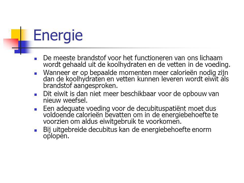 Energie De meeste brandstof voor het functioneren van ons lichaam wordt gehaald uit de koolhydraten en de vetten in de voeding. Wanneer er op bepaalde