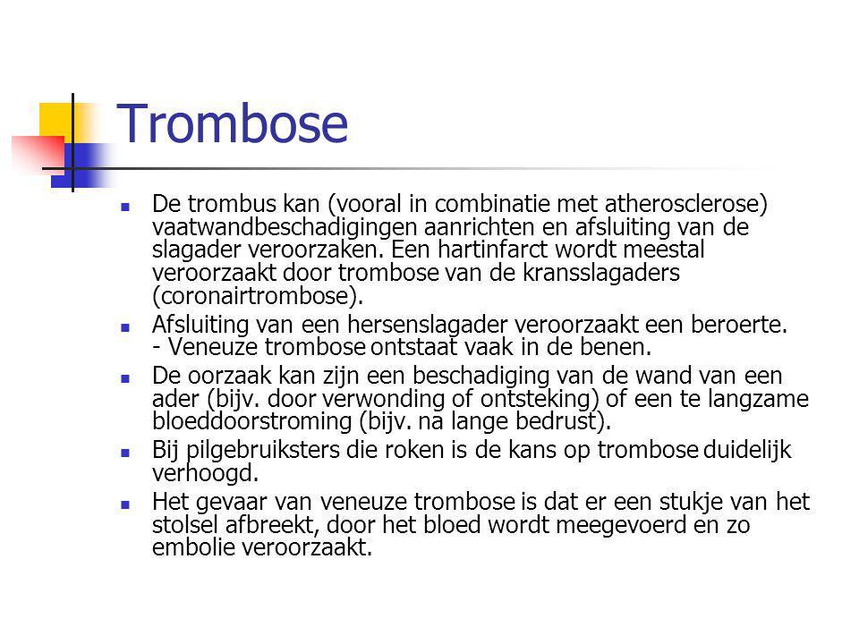 Trombose De trombus kan (vooral in combinatie met atherosclerose) vaatwandbeschadigingen aanrichten en afsluiting van de slagader veroorzaken. Een har