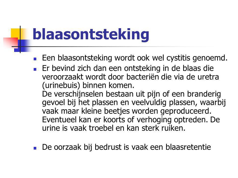 blaasontsteking Een blaasontsteking wordt ook wel cystitis genoemd. Er bevind zich dan een ontsteking in de blaas die veroorzaakt wordt door bacteriën